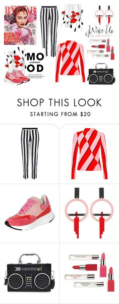 """""""Current Mood: Bold Stripes"""" by maggiecakes ❤ liked on Polyvore featuring River Island, Current Mood, Topshop, Alexander McQueen, Toolally, Clinique and WALL"""
