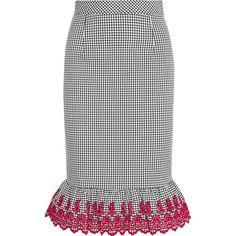 Altuzarra Benson broderie anglaise-trimmed gingham stretch-cotton... ($370) ❤ liked on Polyvore featuring skirts, black, ruffle hem skirt, cotton stretch pencil skirt, knee length pencil skirt, patterned skirts and altuzarra
