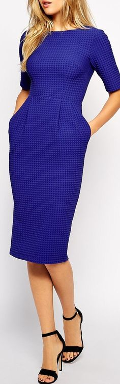 textured cobalt dress