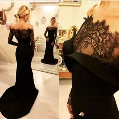 Long Sleeve Prom Dress,Sweep Train Evening Dress,Lace Top