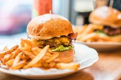 Yummy Fresh Burger with French Fries Free Stock Photo