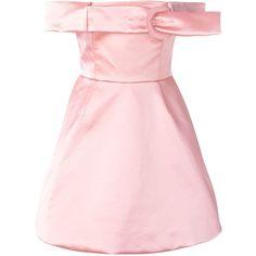 Daizy Shely Off-Shoulder Flared Dress (1.250 BRL) ❤ liked on Polyvore featuring dresses, off shoulder dress, flared dresses, flare dress, pink off the shoulder dress and pink dress