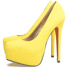 AX Paris Yellow Faux Suede Platform Shoe (185 BRL) ❤ liked on Polyvore featuring shoes, pumps, heels, high heels, sapatos, zapatos, faux suede pumps, women shoes, yellow pumps and platform pumps