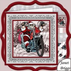 BIKER SANTA Christmas 8x8 Pyramage Mini Kit on Craftsuprint designed by Janet Briggs - 2 sheet Christmas mini kit with 3d step by step pyramage for added depth. Topper is approximately 8 inch or can be reduced in size for smaller cards.Features biker Santa.Kit includes,1. Topper