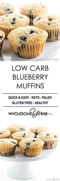 Keto Low Carb Paleo Blueberry Muffins with Almond Flour