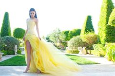 """The Princess of Couturia loved to wear her Lloyd Klein yellow sculpted tulle gown and a matching soft buttercup leather corset ito walk through the gardens in her home far far away on a hill in FashionLand where she was known among the Couturians as the """"Barefoot Princess"""".  Photo- Robert Voltaire, Model - Alex Abercrombie, Fashion by Lloyd Klein"""