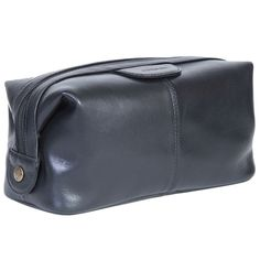 084e54869682 Vegetable-Tanned Black Calf Leather Dopp Kit