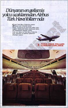 THY_Turkish Airlines_Airbus A310_reklam_19850715 Airbus A310, Istanbul, Vintage Airline, Turkish Airlines, Central Asia, Middle East, Cabins, Airplane, Jet