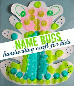 Cursive writing practice for kids. 1) Have the kids write their name on a piece of paper folded in half. 2) Cut around their name. 3) Open up the folded paper and decorate. Everyone's bug will be different shaped!! by Tia Montgomery