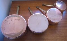 A personal favorite from my Etsy shop https://www.etsy.com/uk/listing/253280575/vintage-copper-pan-set-of-4-saucepans