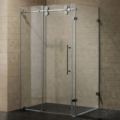 LessCare 48 or 60 x 76 x 34.5-inch Frameless Chrome/ Brushed Nickel Finish Clear Glass Shower Enclosures  | Overstock.com Shopping - The Best Deals on Shower Doors