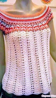 Crochet Summer Knitting Models, # crochetwraps # summerblackgodmodels # summerblackwinter models, we have prepared a very nice gallery. Beautiful knitting pattern consisting of summer knitting patterns. Pull Crochet, Gilet Crochet, Mode Crochet, Crochet Blouse, Crochet Lace, Crochet Stitches, Crochet Tops, Freeform Crochet, Cross Stitches