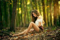 Meditando en el bosque.