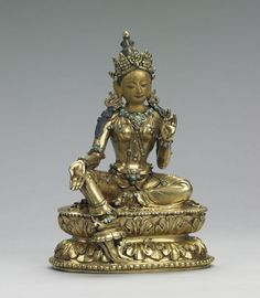 The Dragon's Gift: The Sacred Arts of Bhutan The peaceful deity Green Tara 1800–1900 Bhutan Gilded bronze with cold gold, pigments, and turquoise inlay Lent by the National Museum of Bhutan, Paro. Photo by Shuzo Uemoto/Honolulu Academy of Arts