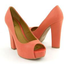 Qupid Women's Shoes Peep Open Toe Platform Sky High Chunky Heel Pumps, Coral Synthetic, 8.5 M US « Stylish And Accessories