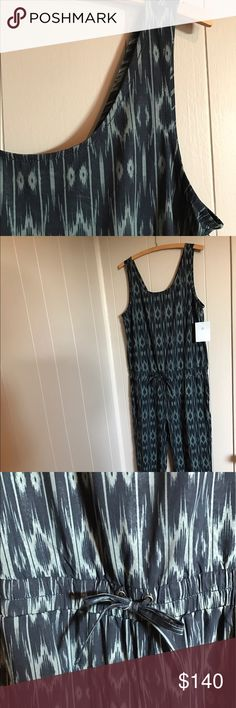 Athleta jumpsuit Ikat pattern in olive and black. Elastic at the waist and has a drawstring. The back is beautiful! NWT. Athleta Pants Jumpsuits & Rompers