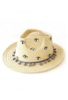 Sombrero Panamá · Bolsas Artesanales · Ojo Del Diablo · EVIL EYE POM POM  HAT Sombreros Pintados A Mano 010f5394e98
