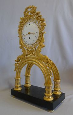French Revolution/Directoire period ormolu and marble mantel clock   c.1800
