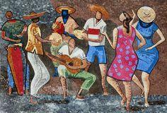 Samba Dancers Marble Mosaic Mural