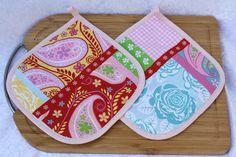 Kochutensilien - Topflappen Küche Blume rosa grün gelb türkis rot  - ein Designerstück von trixies-zauberhafte-Welten bei DaWanda
