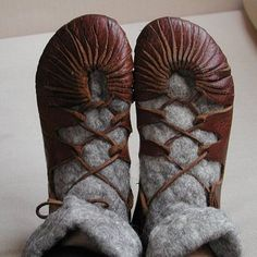 'viking shoes' - or iron age shoes. Might be good for a Renaissance Faire--there are instructions to make these