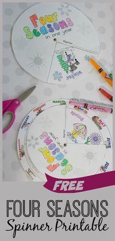 Free 4 Seasons Spinner Printables for Kids