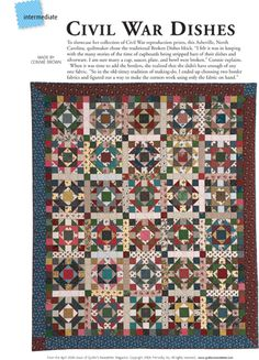 Free Civil-War Quilt Pattern | Pattern: Civil War Dishes