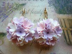 Lilac mauve flower boho earrings Lilac by FlowersFashionByOlga