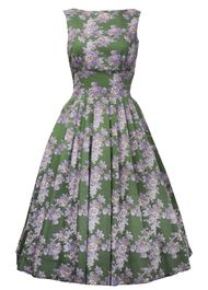 50s Boat Neck Dress - green wedgewood