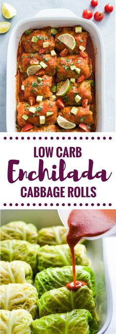 These Low Carb Enchilada Cabbage Rolls are made with cabbage leaves and stuffed with chicken, cheese and green chiles for a healthy weeknight meal! via @isabeleats
