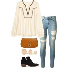 embroidered blouse by helenhudson1 on Polyvore featuring H&M, rag & bone, Splendid, Tory Burch and Kendra Scott