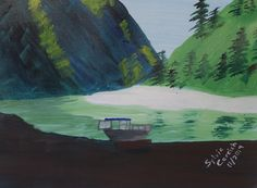 Jetboar on the Salmon River, 11X14, acrylic on canvas