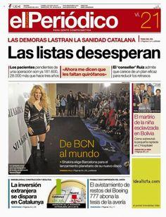 """LAS CADERAS TABASCO: Shakira en """"El Periodico"""" de España"""