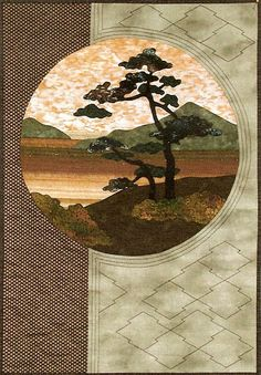 """""""Windswept Tree"""" wall hanging pattern by Helene Knott as seen at Asian Fabric Source.  Postcards from Japan series."""