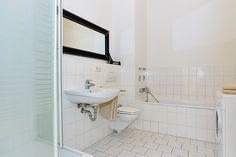 bathroom with tub & shower L Shaped Leather Sofa, Berlin, Dark Curtains, Small Bathroom, Bathroom Ideas, Spacious Living Room, Shower Tub, Ground Floor, New Kitchen