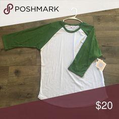 "LuLaRoe ""Randy"" Tee Green and white LuLaRoe Randy 3/4 sleeve T-shirt. Size 2XL. New with tags. LuLaRoe Tops Tees - Long Sleeve"