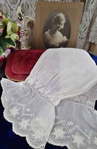 Pair Fine Whitework Antique Embroidered Lace Cuffs Amp Sleeves Doll Dressing   Vintageblessings