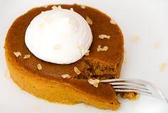 Crustless Pumpkin Pie...baked in ramekins. Genius, since I throw the crust away anyway.