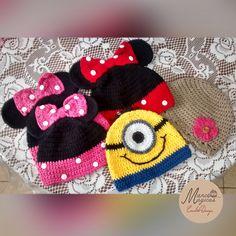 Crochet Beanie Minnie Mouse, Minions, flowers