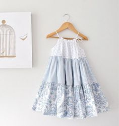 Toddler Girl Patchwork Dress-Powder Blue and White Twirl Dress-Infant Baby Holiday Dress-Handmade Children Clothing by Chasing Mini.this is a cute July outfit if you add red flats and a red clip for her hair!love these flowers against the wooden tabl Little Girl Outfits, Little Girl Fashion, Little Girl Dresses, Fashion Kids, Kids Outfits, Toddler Outfits, Baby Girl Dresses, Baby Dress, The Dress