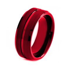 Red Titanium Ring Red Men Titanium Rings Red by GiftFlavors, $277.77