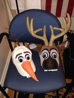 Sven and Olaf costume hats! Love the antlers! Costume Halloween, Troll Costume, Halloween 2014, Holidays Halloween, Halloween Crafts, Halloween Decorations, Costume Hats, Diy Olaf Costume, Halloween Camping