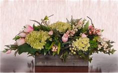 Pink Tulips and Green Hydrangea Spring Arrangement