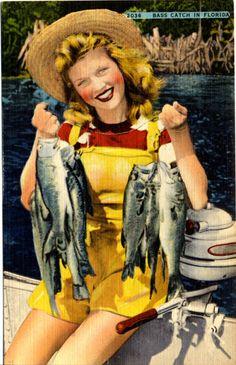 Pretty Girl Fishing Florida Lake Eloise Bass Catch Linen Postcard (unused). $6.00, via Etsy.