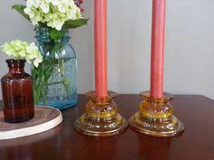 Sale Vintage Amber Candle Holder by MissVintageTwist on Etsy, $10.99