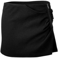 VANESSA BRUNO ATHÉ Black Draped Mini-Skirt ❤ liked on Polyvore
