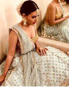 @additigupta wearing the most amazing light teal lehenga and gold sequin encrusted blouse by @anusoru! Is this perfect for your bff's…