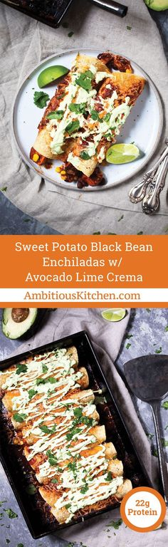 The best vegetarian enchiladas you�ll ever eat: Sweet Potato Black Bean Enchiladas packed with flavor and topped with an amazing avocado lime sauce. Make them for dinner tonight!
