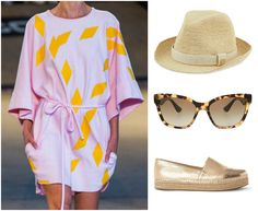 A picnic in the park calls for a #JakubPolanka tunic, #MIUMIU shades, a fun fedora by #HeidiKlein and #SteveMadden espadrilles. #summerfashion #picnic #color #czechdesigner