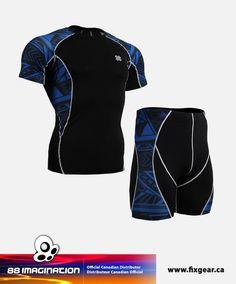FIXGEAR C2S-P2S-B1 Set Compression Base Layer Shirt & Compression Drawer Shorts